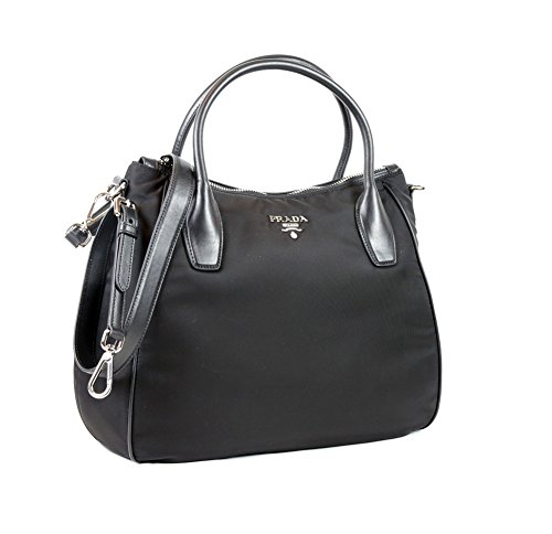 Prada Tessuto Nylon Leather Trim Shoulder Bag in Black