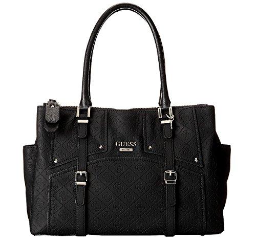 GUESS Women's Rikki Status Large Satchel bag Handbag, Black