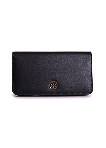 Tory Burch Robinson Hidden Zip Continental Wallet Black