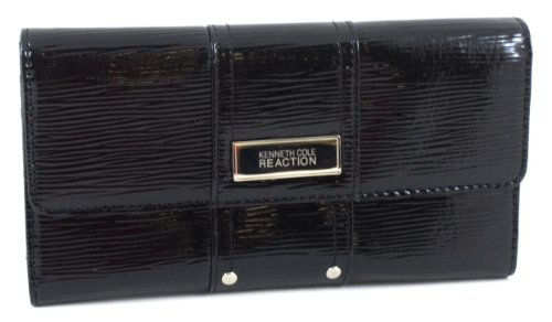 Kenneth Cole Reaction Patent Streaked Flap Wallet W/ Studded Detail