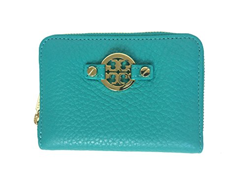 Tory Burch Amanda Turquoise Leather Zip Coin Case