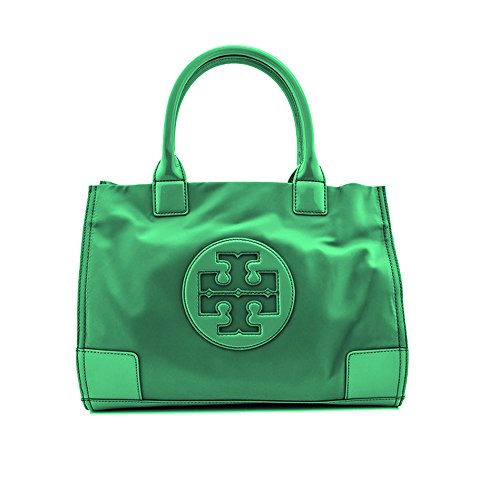 Tory Burch Tote Nylon Mini Ella in Emerald Stone Green TB Logo Handbag
