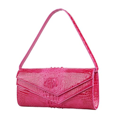 SINNOL Women's Real Crocodile Leather Evening Party Bag Pink S01093