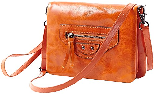 Heshe® New Fashion Waxy Motorcycle Bag Leather Vintage Flap Shoulder Bag Handbag Cross Body Messenger Casual Simple Style Mini Satchel Wristlet Clutch Card Holder