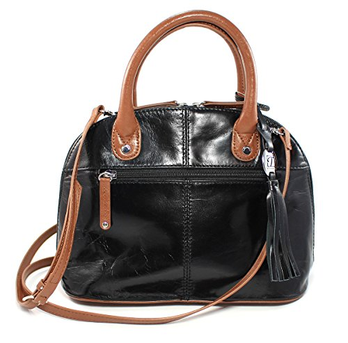 Tignanello Mini Dome Top Handle Handbag Purse (Black/Cognac)