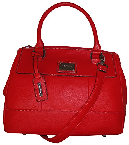 Tignanello Purse Handbag Social Status Leather Satchel Lipstick Red
