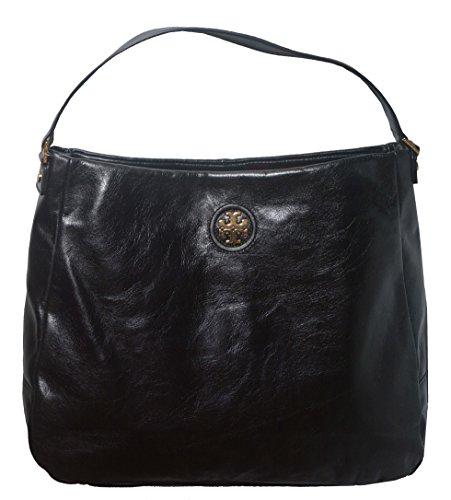Tory Burch City Distressed Leather Hobo Shoulder Handbag Bag Black