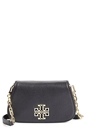 Tory Burch Mini Britten Leather Crossbody Bag Black Handbag New