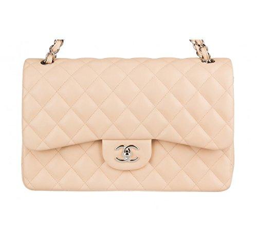 $6000 Chanel Jumbo Classic Handbag Double Flap / Beige / Lambskin / Silver Chain