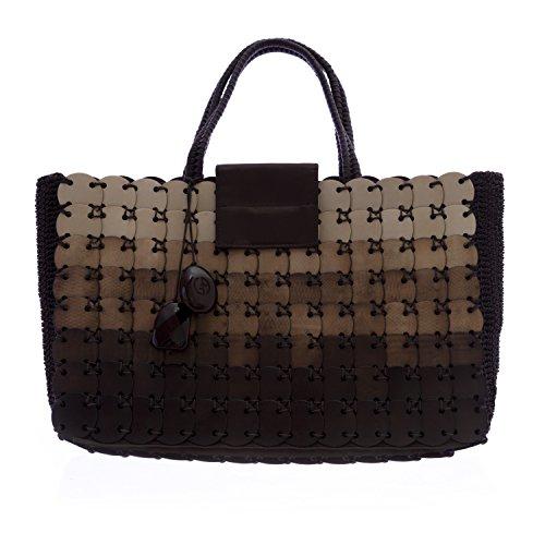 Giorgio Armani Women's Crocheted Tote Bag Brown Multi