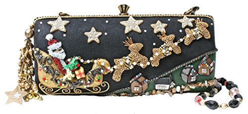 Mary Frances Sleigh Ride Tonight Holiday Santa Novelty Convertible Clutch Handbag