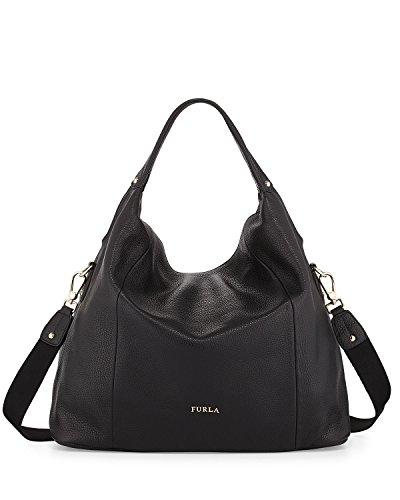 Furla Raffaella Medium Leather Hobo Shoulder Handbag, Black, One Size