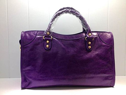 Balenciaga Giant 12 Gold City Top Handle Deep Purple Satchel