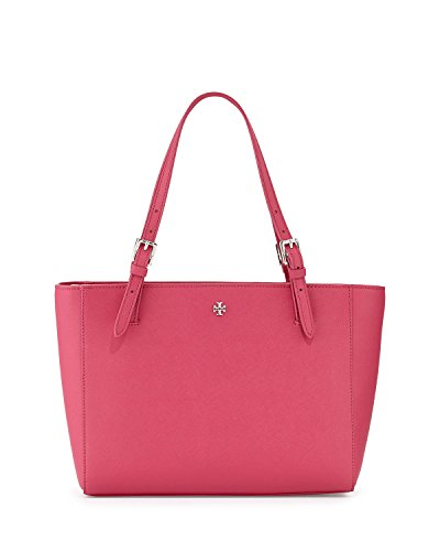Tory Burch York Large Buckle Tote – Saffiano Leather Carnation Red