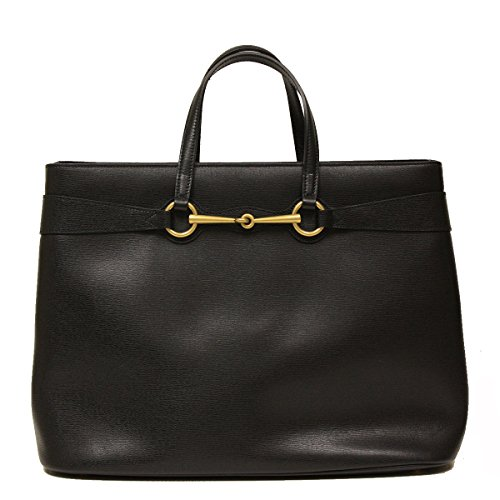 Gucci Horsebit Convertible Large Black Leather Top Handle Shoulder Tote Bag