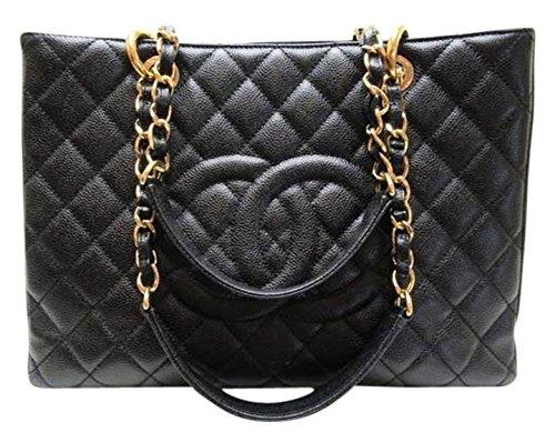 $4000 Chanel Jumbo Classic Shopping Tote Handbag / Black / Caviar / Gold Chain