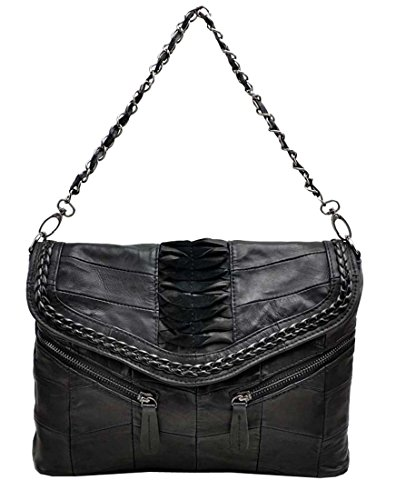 Heshe New Soft Girls Luxury Leather Stylish Sheepskin Fashion Woven Pattern Link-chain Clutch Organizer Designer Punk Retro Shoulder Crossbody Bag Messenger Bag Purse Women's Handbag