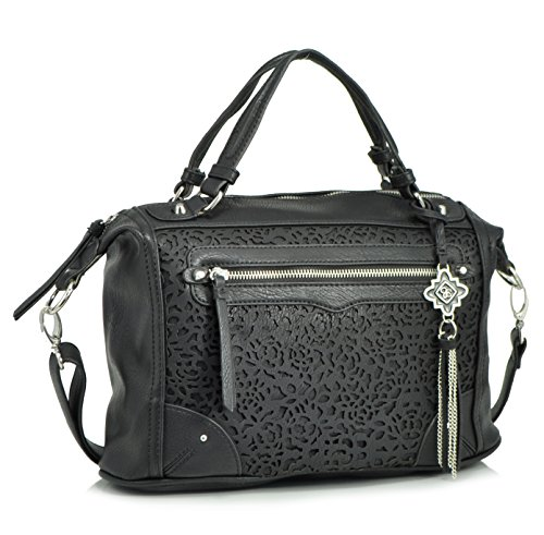 Jessica Simpson Diana Lasercut Cross Body Satchel, Black
