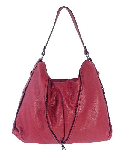 Kooba Lori Soft Pebble Leather Hobo Bag, Red Russian