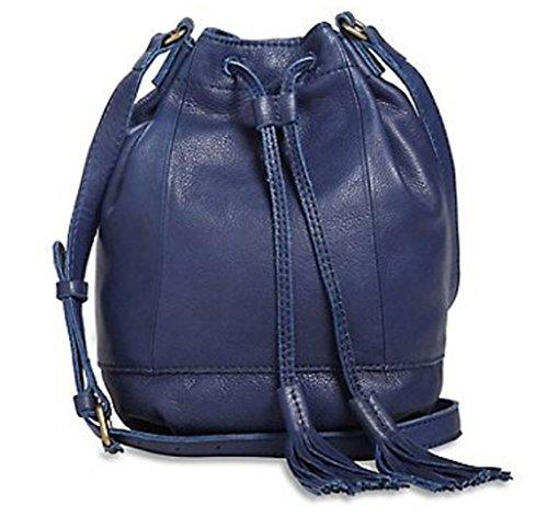 Lucky Brand Cobalt Blue Harper Leather Bucket Crossbody Bag