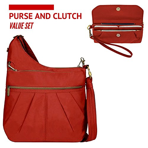 Travelon Anti-Theft Signature 3 Compartment Crossbody Shoulder Bag with Clutch Wallet