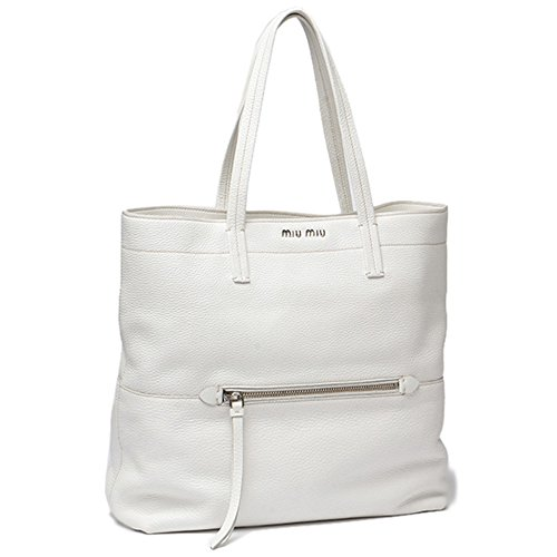 Miu Miu by Prada Vitello Diano Textured Leather Shopping Tote Bag RR1934, White Talco