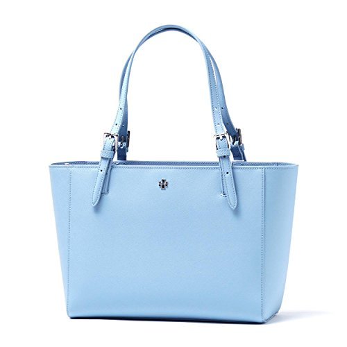 Tory Burch York Saffiano Leather Small Buckle Tote Bag in Fairview Blue
