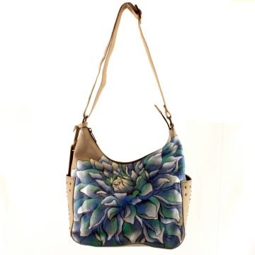 Anuschka Hand Painted Leather Hobo Handbag (Dreamy Dahlias)