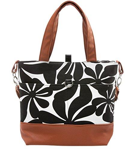 Urban Mom, Stylish Diaper Bag, Black Floral Tote