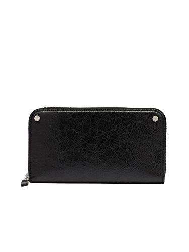 Lady Clutch Black Large Zip Handbags Lambskin Leather