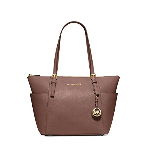 Michael Kors Jet Set East West Top Zip Saffiano Leather Tote in Dusty Rose