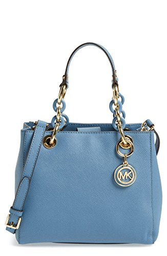 MICHAEL Michael Kors Womens Cynthia Small North South Satchel Cornflower/Gold
