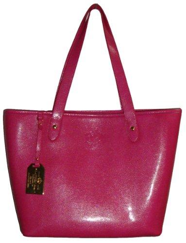 Women's Large Lauren Ralph Lauren Newton Classic Tote Handbag (Hot Pink)