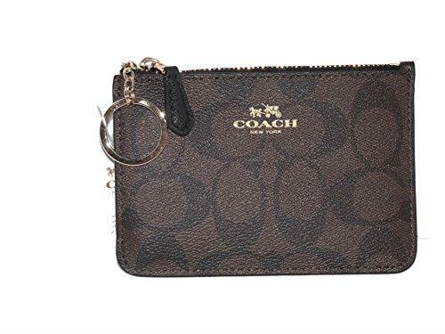 Coach Brown Signature PVC Canvas Key Coin Pouch Purse Wallet Case 63923