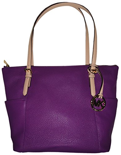 Michael Kors Jet Set EW Top Zip Pebbled Leather Tote Color Violet
