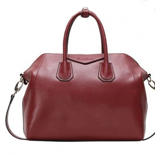 Fineplus Women's Vintage Hobo Smile Leather Shoulder Strap Tote Bag Large Wine-red