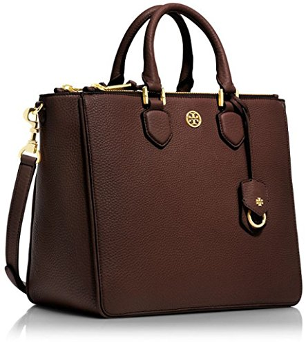 Tory Burch Robinson Pebbled Square Tote in Dark Walnut