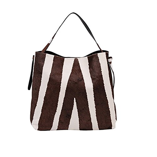 'Celina' Designer Inspired Black Zebra Haircalf Hobo Handbag by Inzi