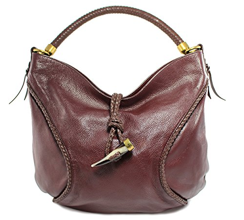 Lauren Ralph Lauren Garnet Red Leather Olgevie Hobo Bag Purse Tote