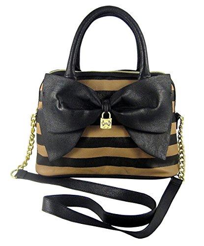 Betsey Johnson Bow Dome Satchel Handbag/ Shoulderbag Spice/Black