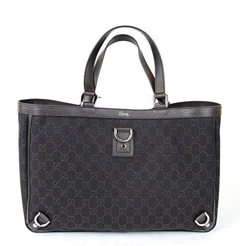Gucci Brown Denim D Ring GG Handbag Abbey Tote Bag 293580 1086