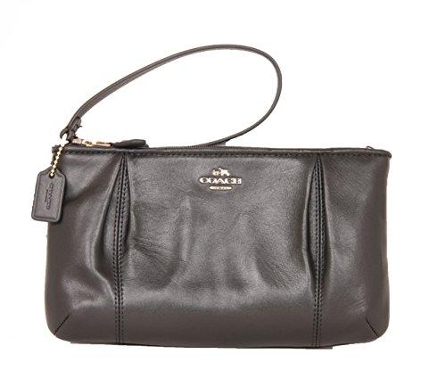 Coach Collet Large Leather Wristlet Handbag Black