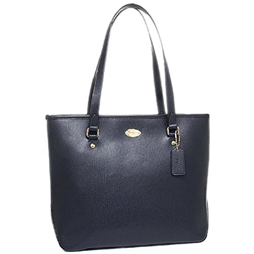 COACH Crossgrain Leather Zip Top Tote Midnight