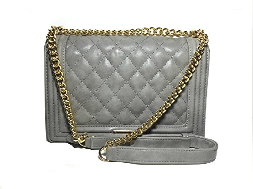 Bcbg Matte Quilted Chain Shoulder Bag Grey
