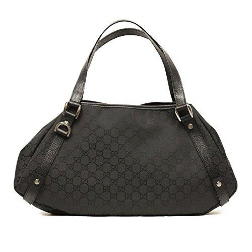 Gucci D Ring Black Nylon and Leather Hobo Shoulder Bag