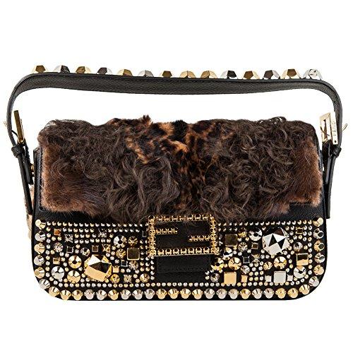 Fendi Baguette brown fur shoulder bag