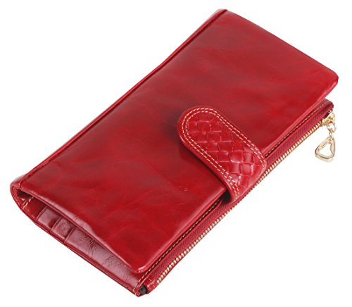 Heshe® Luxury Women's Waxy Leather New Woven Pattern Fashion Organizer Long Wallet Clutch Purse Handbag with Coin Zippered Pocket Card Case Holder