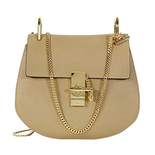 Chloe Drew Calfskin Leather Shoulder Bag – Chestnut Cream