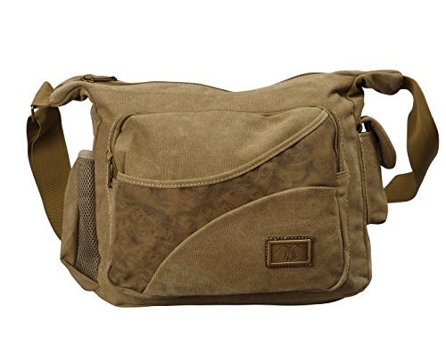 Canvas Retro Messenger Bag By Bayfield /Faux Leather Tote Bag for Camera, Tablet