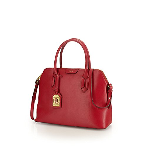 Lauren Ralph Lauren Womens Tate Dome Satchel (Red/Cocoa)